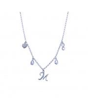 Srebrny łańcuszek celebrytka z zawieszkami - literka M pr. 925