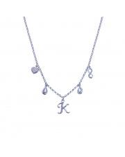 Srebrny łańcuszek celebrytka z zawieszkami - literka K pr. 925