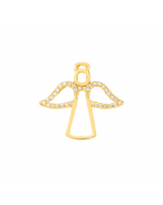 Zawieszka złota kontur aniołka z cyrkoniami pr.585