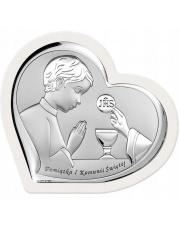 Obrazek srebrny Komunia Chłopiec serce