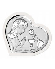 Obrazek srebrny Komunia Dziewczynka serce