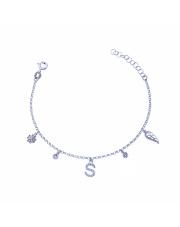 Srebrna bransoletka z zawieszkami - literka S pr. 925