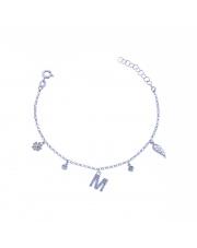 Srebrna bransoletka z zawieszkami - literka M pr. 925