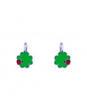 Srebrne kolczyki z zielonymi koniczynkami pr. 925