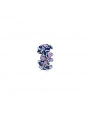 Charms - Kółko z białymi i fioletowymi motylami -  pr.925