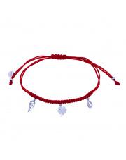 Srebrna bransoletka z motywami na czerwonym sznurku pr.925