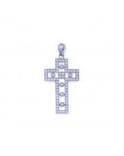 Srebrny krzyżyk ażurowy z kamieniami pr. 925