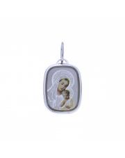 Srebrna zawieszka medalik z Matką Boską z Dzieciątkiem w kolorze  pr. 925