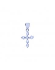 Srebrny krzyżyk z białymi kamieniami pr. 925