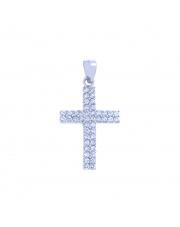 Srebrny krzyżyk z białymi cyrkoniami pr. 925