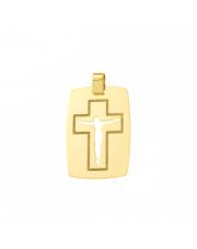 Złota zawieszka blaszka z krzyżykiem - pr. 585