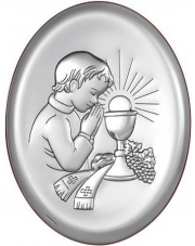 Obraz srebrny Pamiątka pierwszej komunii św. Chłopiec Owal