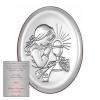 Obraz srebrny Pamiątka pierwszej komunii św. Dziewczynka Owal