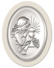 Obraz srebrny Pamiątka pierwszej komunii św. Dziewczynka Biały
