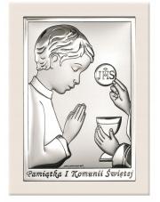 Obrazek srebrny Komunia Święta Chłopiec Na białym drewnie