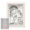 Obrazek srebrny Dziewczynka Pierwsza Komunia Święta Na białym Drewnie
