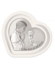 Obrazek srebrny I Komunia Św. Chłopiec w sercu