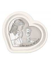 Obrazek srebrny I Komunia Św. Dziewczynka w sercu