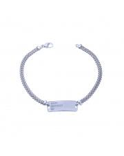Srebrna bransoletka ze srebrną blaszką pod grawer - pr.925