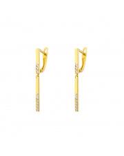 Złote kolczyki z wiszącą pałeczką pr. 585