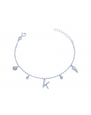 Srebrna bransoletka z zawieszkami - literka K pr. 925