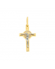 Złota zawieszka krzyżyk z cyrkoniami - pr. 585