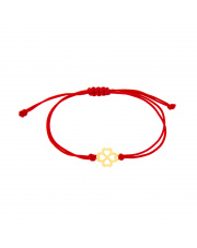 Złota bransoletka na czerwonym sznurku z koniczynką - pr. 585