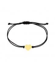 Złota bransoletka na sznurku z sercem - pr. 585