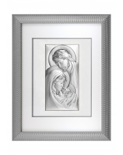 Obraz świętej rodziny w srebrnej ramie za szkłem