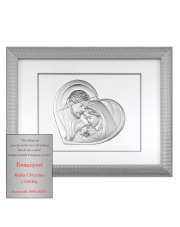 Obraz świętej rodziny w srebrnej ramie za szkłem 65,5 x 51,5 CM