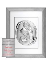 Obraz świętej rodziny w srebrnej ramie za szkłem 51,5 x 65,5 CM