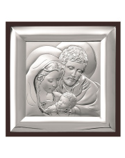Obrazek świętej rodziny na brązowym drewnie 14 x 14 cm