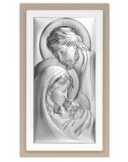 Obrazek srebrny Święta Rodzina na podwójnym drewnie