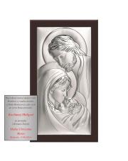Obrazek srebrny Święta Rodzina na brązowym drewnie 15 x 27 cm