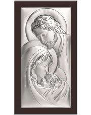 Obrazek srebrny Święta Rodzina na brązowym drewnie.