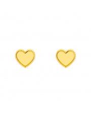 Złote kolczyki sztyfty serce pr. 585
