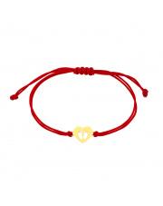 Złota bransoletka na sznurku ze stópkami w sercu - pr. 585