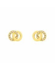 Złote kolczyki sztyfty 2-kółka z cyrkoniami - pr.585