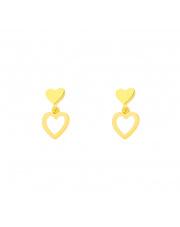 Złote kolczyki wiszące sztyfty serce pr. 585