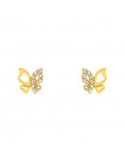 Złote kolczyki z motylem i kamieniami - pr. 585