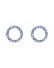 Srebrne kolczyki sztyfty kółko z białymi kamieniami p.925