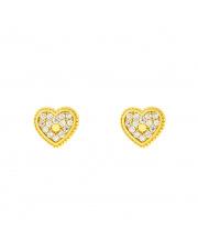 Złote kolczyki sztyfty serce z cyrkoniami pr. 333