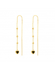 Złote kolczyki przewlekane przez ucho - serce pr.585
