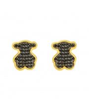 Złote kolczyki sztyfty Miś z czarnymi kamieniami - pr.333