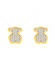 Złote kolczyki sztyfty Miś z białymi kamieniami - pr.333