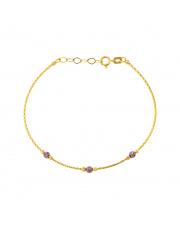 Złota bransoletka z fioletowymi kulkami - pr.585