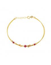 Złota bransoletka z amarantowymi kulkami - pr.585