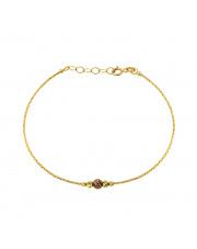 Złota bransoletka z brązową kulką - pr.585