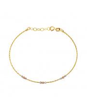 Złota bransoletka z białą i różową kulką - pr.585