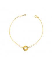 Złota bransoletka z sercem w kółka - pr. 585